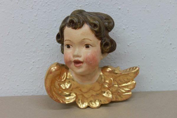 geschnitzter Engelskopf, gefasst, vergoldet - Goldcreartiv